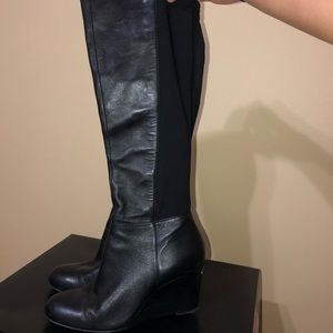 AUTHENTIC Micheal Kors leather wedge boots